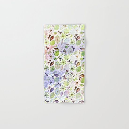 Lemons and flowers- floral pattern Hand & Bath Towel