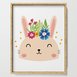 Cute Face Bunny Easter Day Gif Kids Girls Women Serving Tray