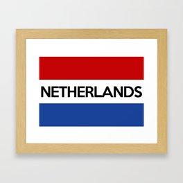 netherlands country flag name text Framed Art Print
