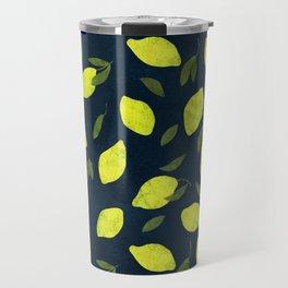 Lemons on deep blue Travel Mug