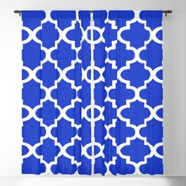 Arabesque Architecture Pattern In Royal Blue Blackout Curtain