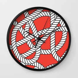Red Rope Pattern Wall Clock