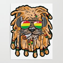RASTA LION Joint Smoking Weed 420 Ganja Pot Hash Poster