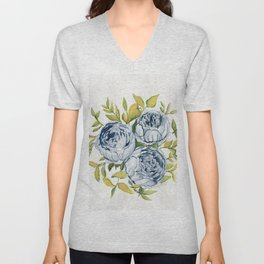 Blue Flowers Watercolor Unisex V-Neck