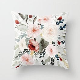 Loose Watercolor Bouquet Throw Pillow