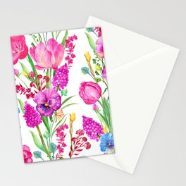 Pink Tulips and Purple Pansies Floral Pattern Stationery Cards