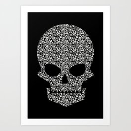 Skull + flowers (white) Art Print