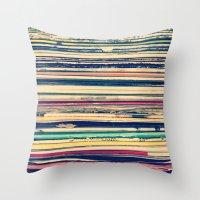 vinyl Throw Pillows featuring Vinyl  by Laura Ruth