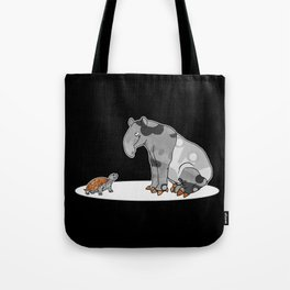 Tapir meets Turtle, Cute Animal Illustration, Black & White with Copper Metallic Accent Funny Turtle Tote Bag