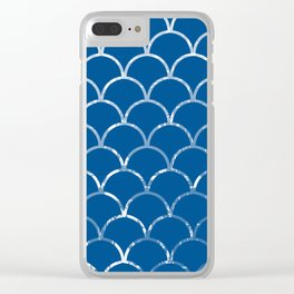 Textured large scallop pattern in snorkel blue Clear iPhone Case