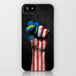 Malaysian Flag on a Raised Clenched Fist iPhone Case