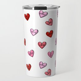 Hearts valentines day candy heart love sayings i love you pattern Travel Mug