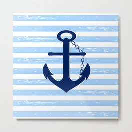 AFE Nautical Blue Ship Anchor Metal Print