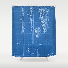 Lacrosse Stick Patent - Lacrosse Player Art - Blueprint Shower Curtain