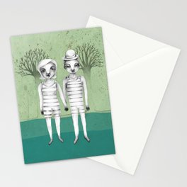 gymnast couple in the forest Stationery Cards