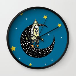 Spaceship Karen and moon Wall Clock