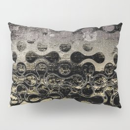 Distressed Silver Gold Multi Pattern Abstract Pillow Sham