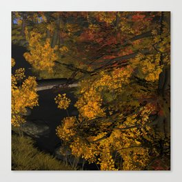 Autumn Leaves and Stream Canvas Print