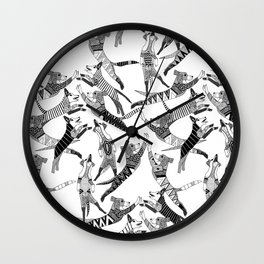 dog party black white Wall Clock