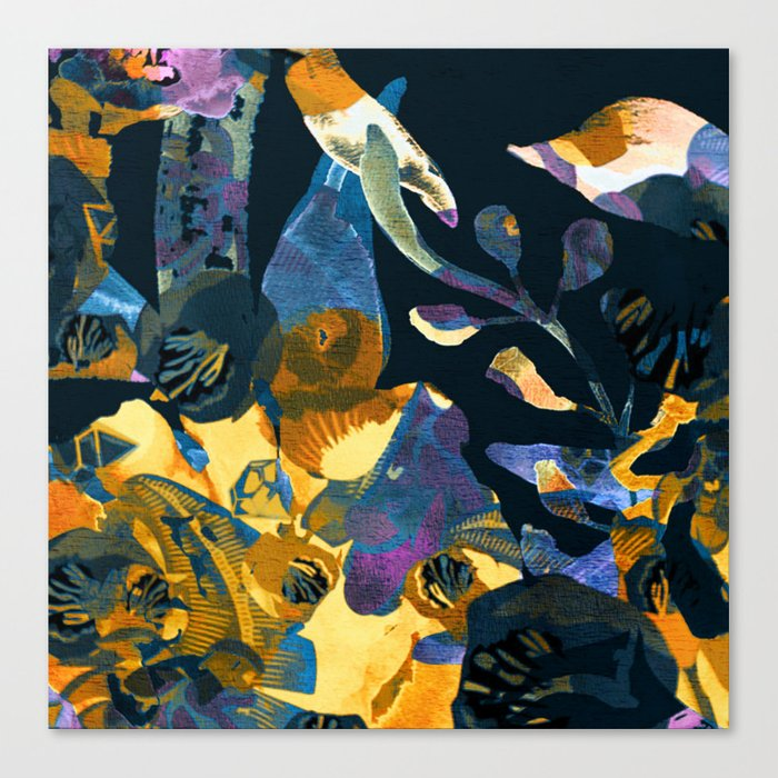 blue abstract floral Canvas Print