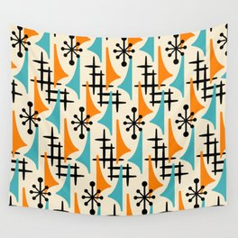 Mid Century Modern Atomic Wing Composition Orange & Blue Wall Tapestry