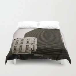 Surrealist City in Black and White Duvet Cover