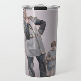 Watercolor Painting of a Smoking Lady with Child Travel Mug