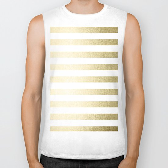 Simply Striped Gilded Palace Gold Biker Tank