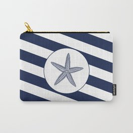 Nautical Starfish Navy Blue & White Stripes Beach Carry-All Pouch