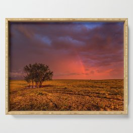 Fire Within - Red Sky and Rainbow Over Lone Tree on Great Plains Serving Tray