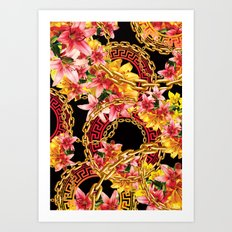 Chained in Gold  Flowers Art Print