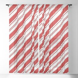 winter holiday xmas red white striped peppermint candy cane Sheer Curtain