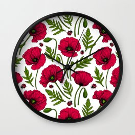 Red poppies and ladybugs Wall Clock