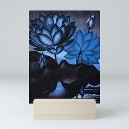 Deep Blue Sacred Egyptian Bean: Temple of Flora Mini Art Print