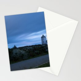 Lighthouse at sunset with silk clouds Stationery Cards