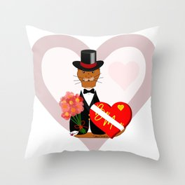 Oliver's Valentines Date With Heart Background Throw Pillow