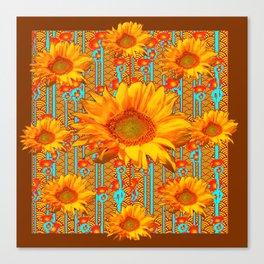Coffee Brown Sunflower Pattern Orange & Turquoise Canvas Print