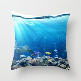 Magnificent Underwater Life Various Sea Animals Throw Pillow