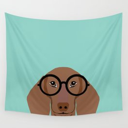 Remy - Daschund with Fashion glasses, hipster glasses, hipster dog, doxie,  Wall Tapestry