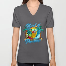 Bird Of Paradise Parrot Relaxing Beach Vacation Unisex V-Neck