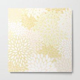 Floral Prints, Soft Yellow and White, Modern Print Art Metal Print