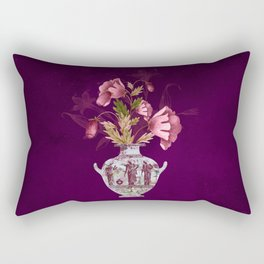 Grecian Marble Hydria with Antique Pink Flora on Celestial Plum Rectangular Pillow