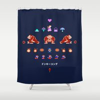 donkey kong Shower Curtains featuring Donkey Kong by Slippytee Clothing