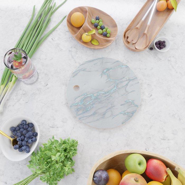 Marble Love Sea Blue Metallic Cutting Board