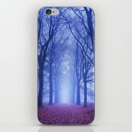 Path in a dark and foggy forest in The Netherlands iPhone Skin