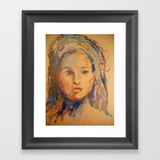 Woman Drawn In Oil Paint Framed Art Print