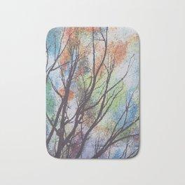 watercolor trees Bath Mat