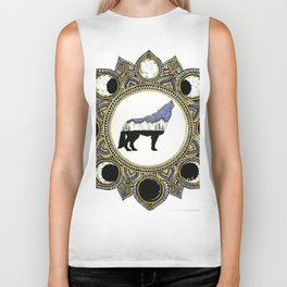 Double Exposure Wolf Howling at the Moon Mandala Biker Tank