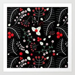 mistletoe black Art Print