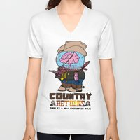 returns V-neck T-shirts featuring country returns by benjamin chaubard